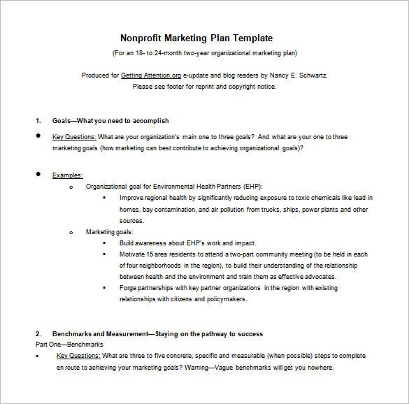 nonprofit marketing action plan format download