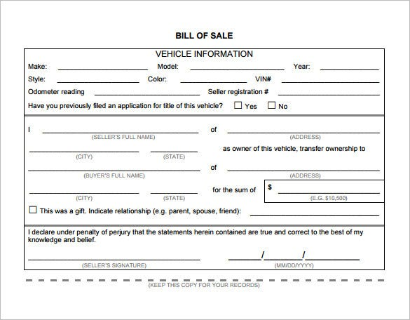 Printable Vehicle Bill Of Sale Download In PDF Format  Microsoft Office Bill Of Sale Template