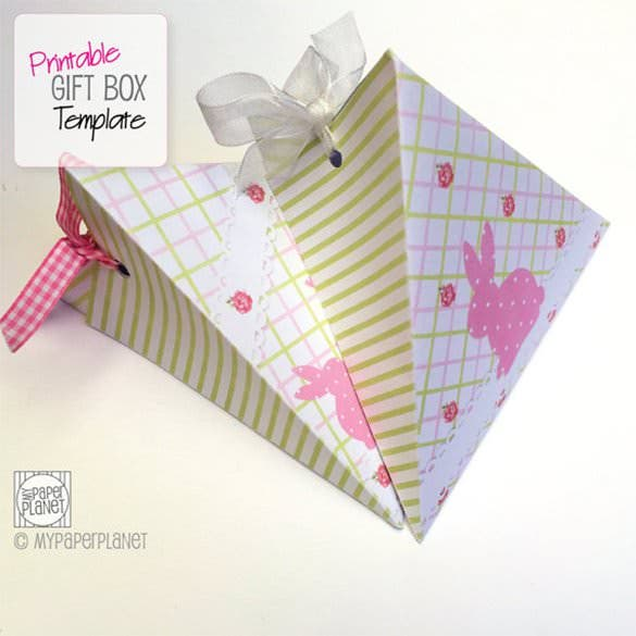 pink bunny triangle gift box template