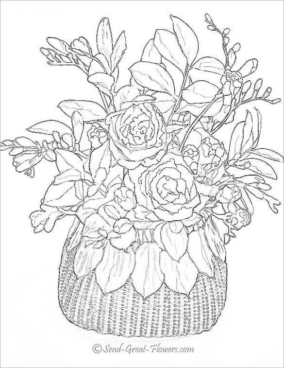 Realistic Flower Coloring Pages Free Coloring Pages