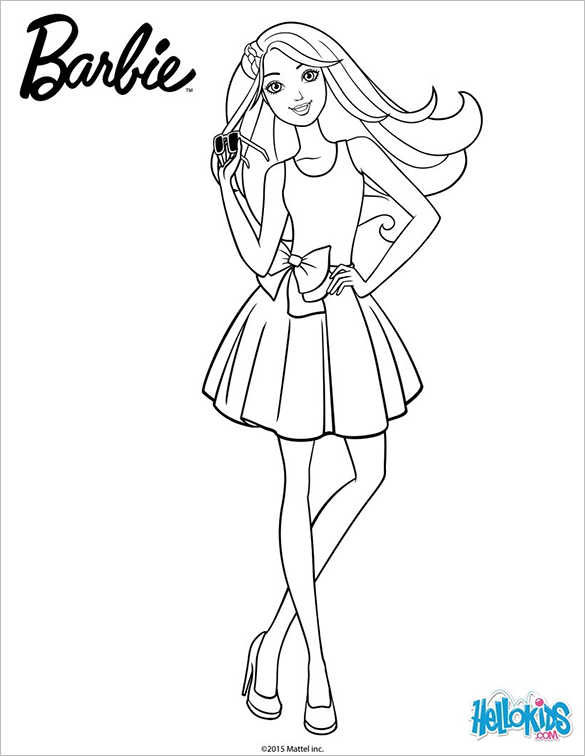 Clever image for printable barbie coloring pages