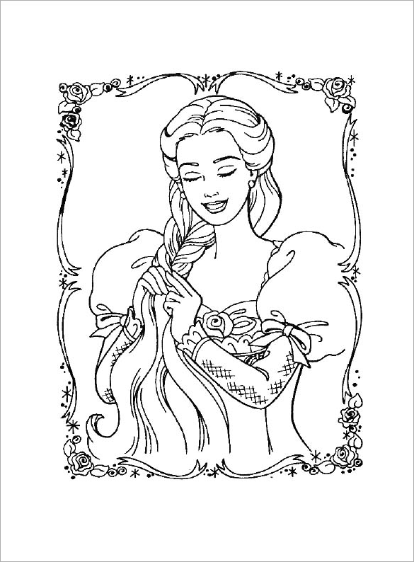 barbie princess free printable coloring page