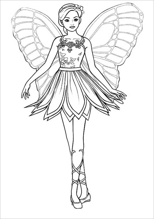 butterfly barbie princess colouring page