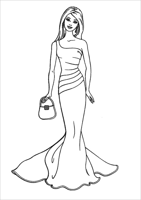 free elegant barbie princess coloring page - Barbie Princess Coloring Pages