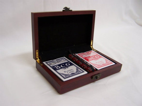 wooden playing card box