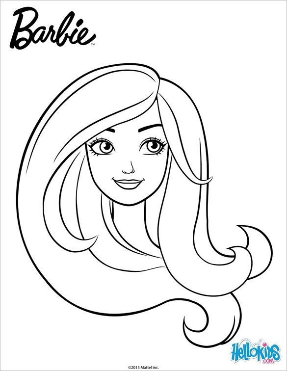 beautiful portrait of barbie colouring page