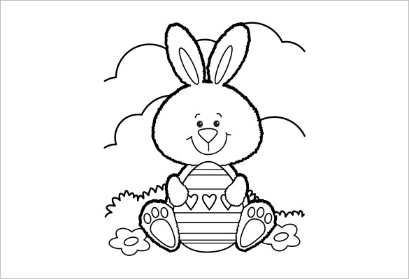 Happy Easter Bunny With Egg Coloring Page