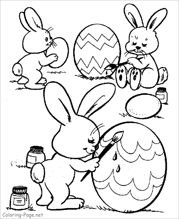 Bunnies Painting Eggs For Easter Coloring Page This Happy Free Printable Has 2 Lovely