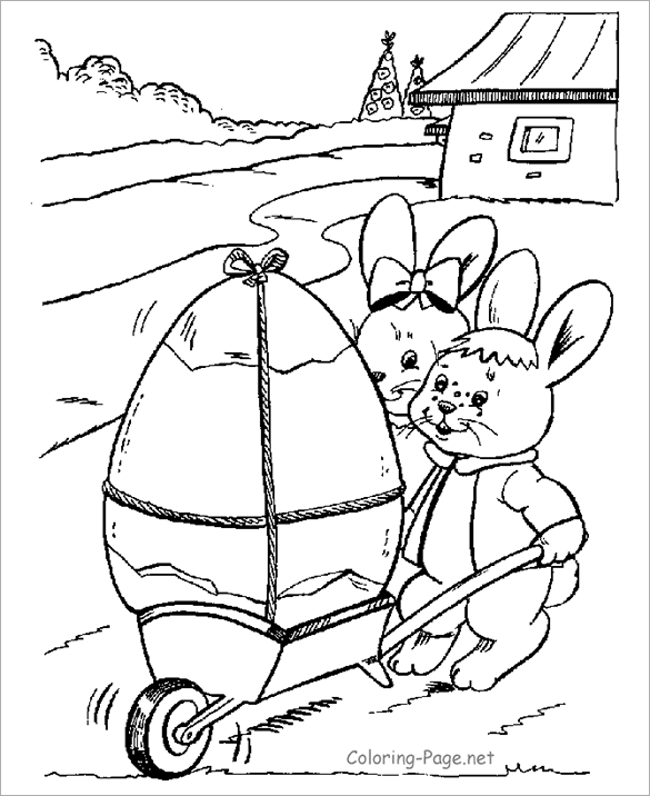 This Amazing Religious Easter Coloring Page Has A Lovely Picture Of 2 Little Bunnies Transporting Large Egg The Free Printable Is