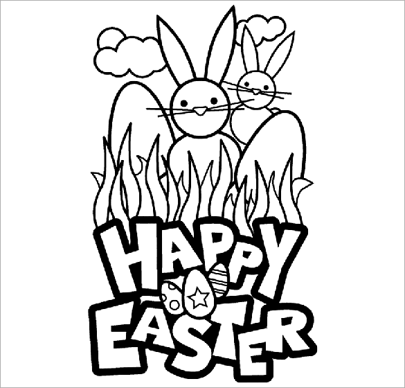 Easter Bunny In Grass Coloring Page