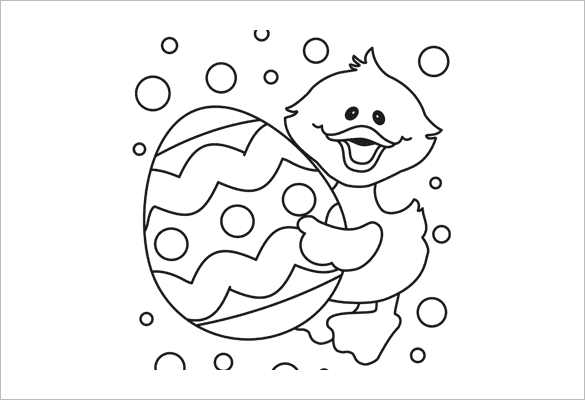 chick with easter egg coloring page
