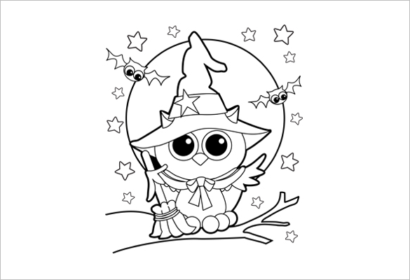 halloween owl witch coloring page for free