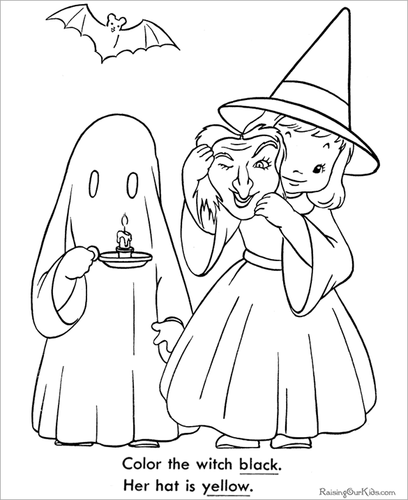 kids with halloween costume coloring page - Coloring Pages Kids Halloween