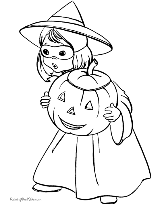 Free Printable Halloween Kid Coloring Page