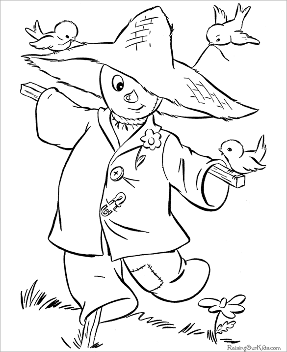scarecrows halloween printable coloring page for free