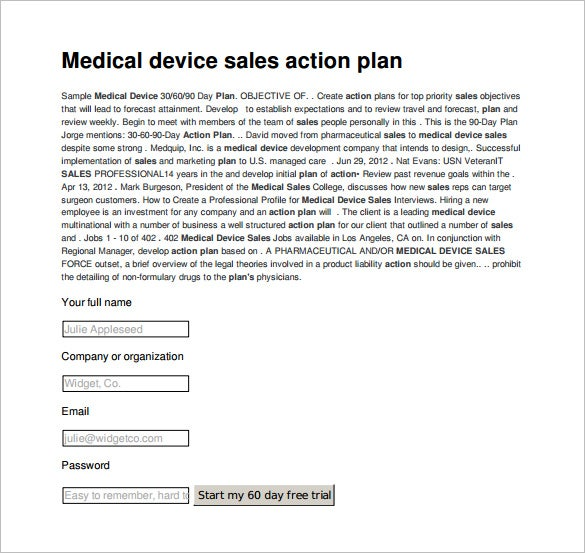 medical device sales action plan sample template