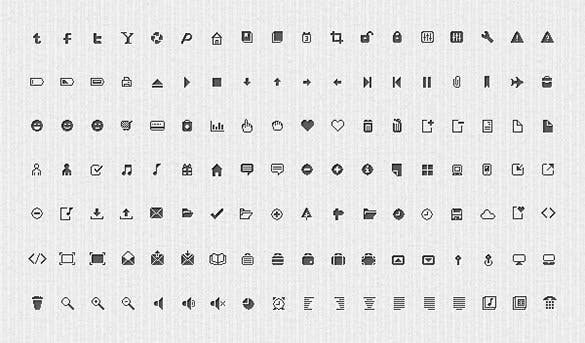 126 free clean pixel icons set