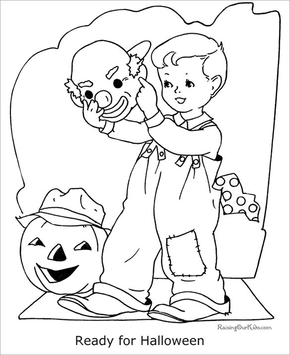 kid ready for halloween party coloring page