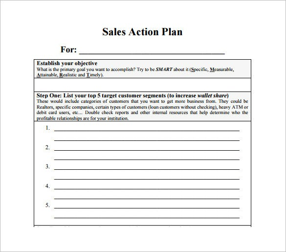 Sales Action Plan Template 7 Free Sample Example Format Free – Example of Action Plan Template