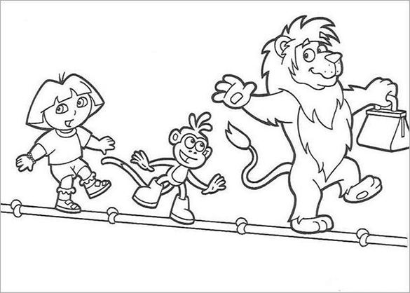 Dora With Lion Coloring Page For Free Download