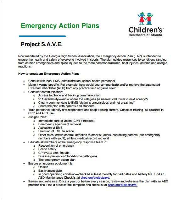 Emergency Action Plans. Emergency Action Plan For Sports Sample ...