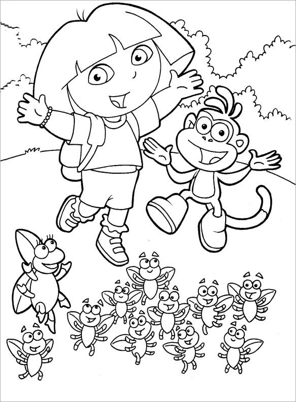 free printable dora coloring page for you - Cartoon Coloring Pages Printables