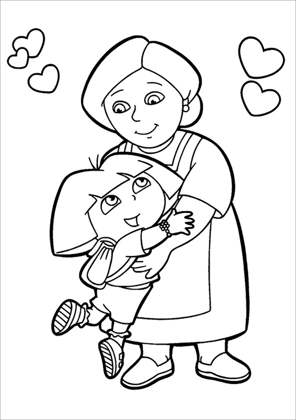 awesome dora with her mother coloring page