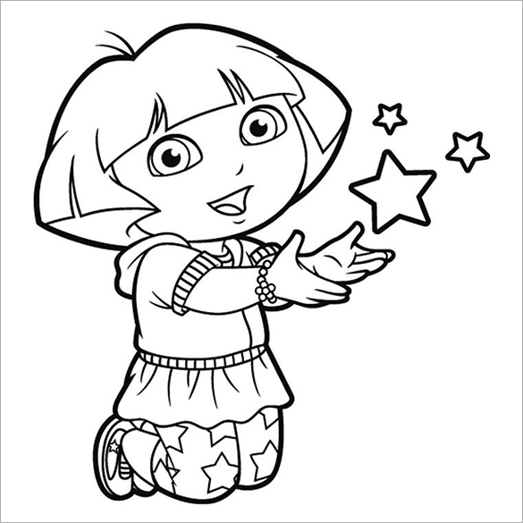 Dora Playing With Stars Free Printable Coloring Page