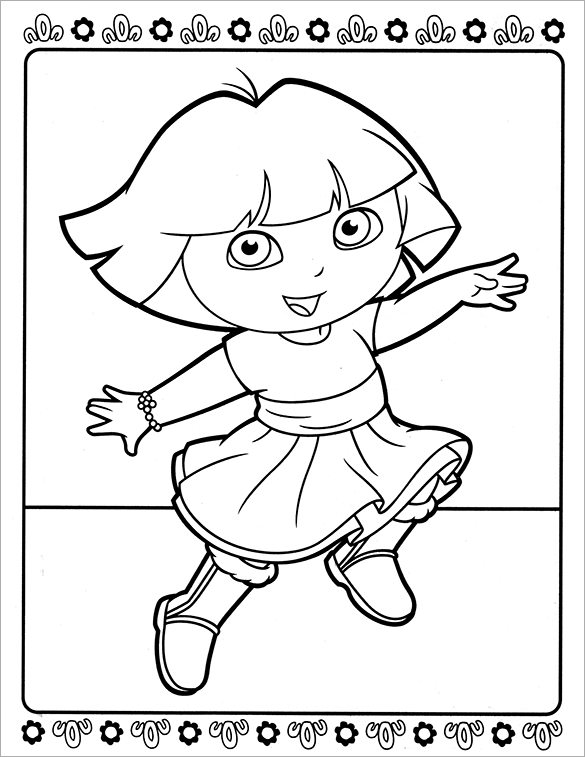 Dora Coloring Pages –  Printable Word, PDF, PNG, JPEG, EPS Format Download