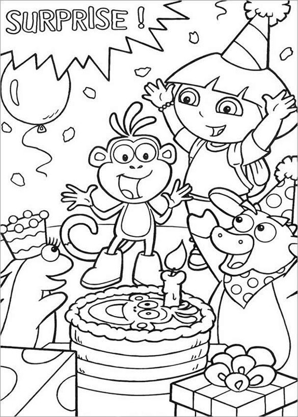 surprise birthday with dora coloring page for you