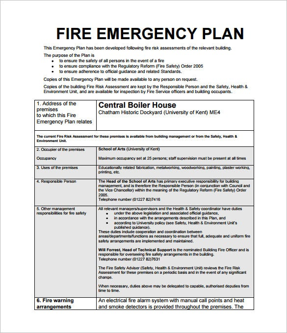 Emergency Action Plan Template   Free Sample Example Format