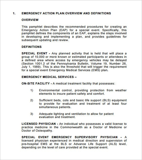 Emergency action plan template 8 free sample example for Event safety plan template