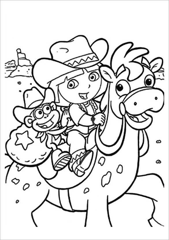 Dora The Explorer On A Horse Coloring Page