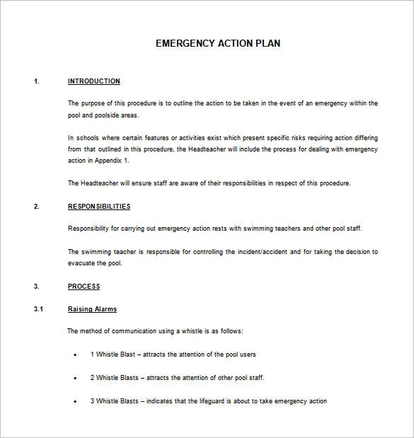 emergency action plan template   datariouruguay