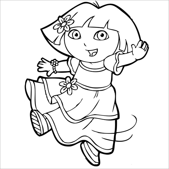 20 dora coloring pages pdf png jpeg eps free for Dora black and white coloring pages