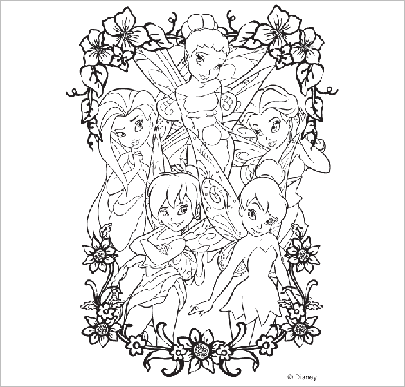 Astonishing Disney Faries Coloring Page For Free Download