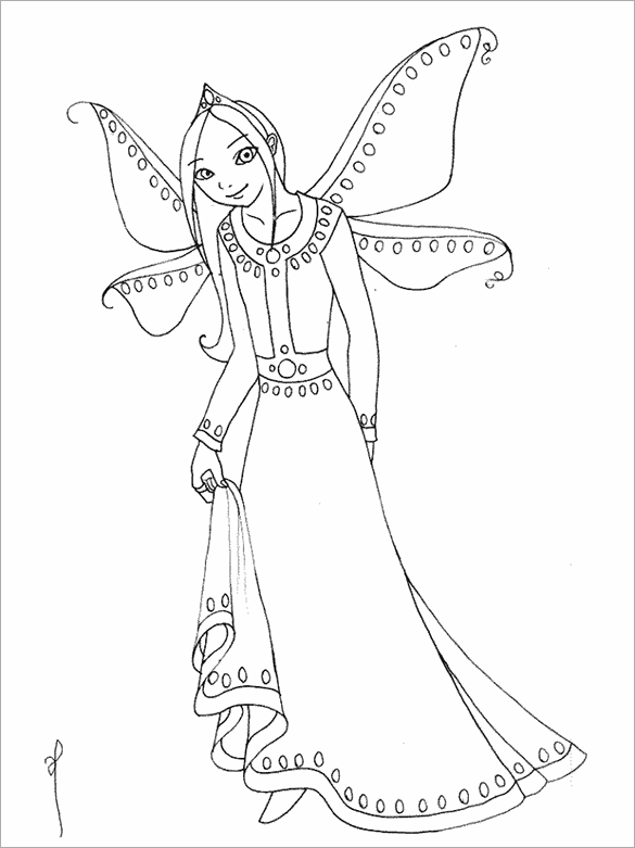beautiful fairy free printable coloring page