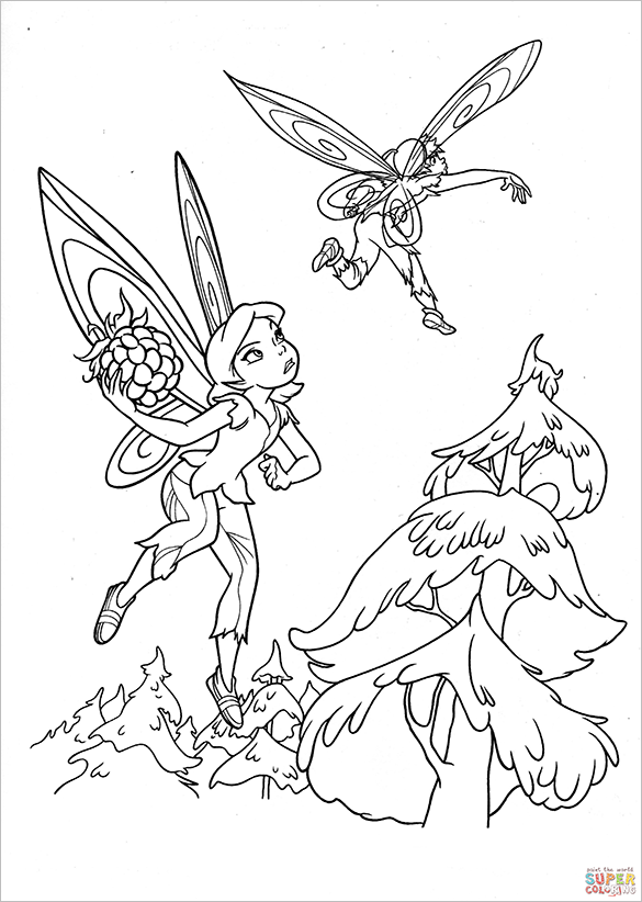 faries escaping from hawk coloring page