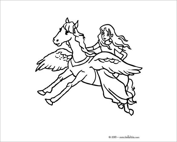 fairy on pegasus back coloring page