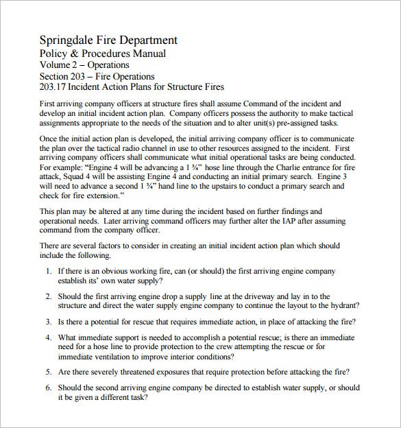 Fire Incident Action Plan Example Free Download