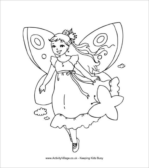 fairy colouring page free printable - Fairy Coloring Page