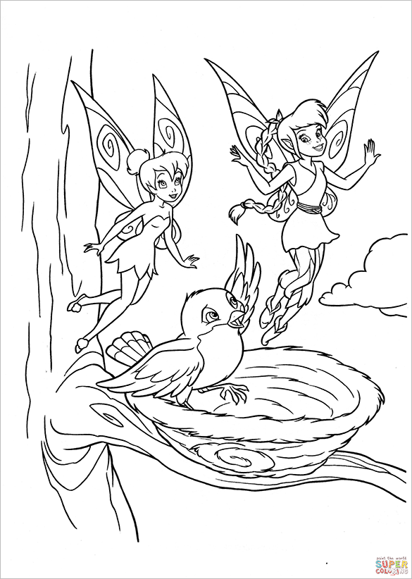 fairy shows animal world coloring page