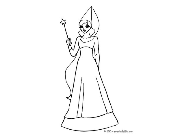 fairy with cone shaped hat coloring page