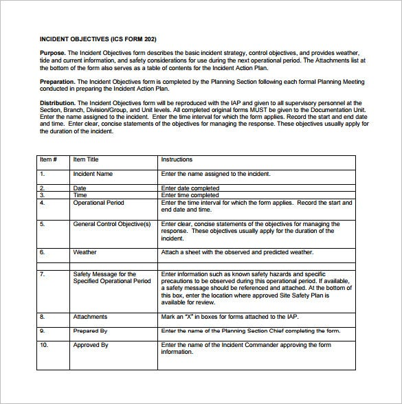 Incident Action Plan Template   Free Sample Example Format