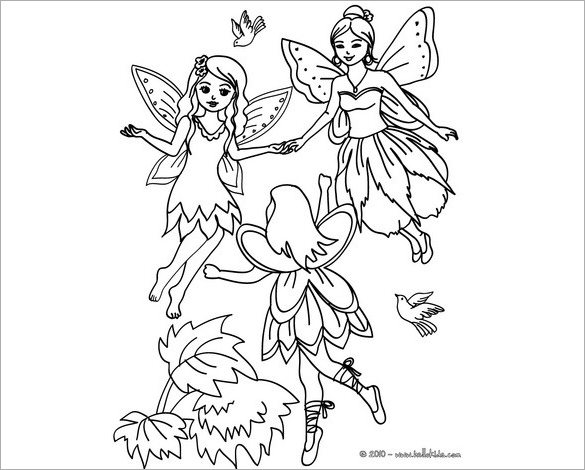 fairies flying in the wood coloring page