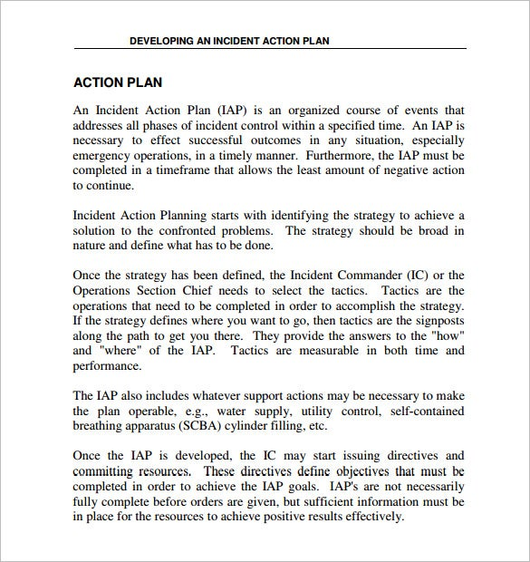 Incident Action Plan Template   Free Sample Example Format Free