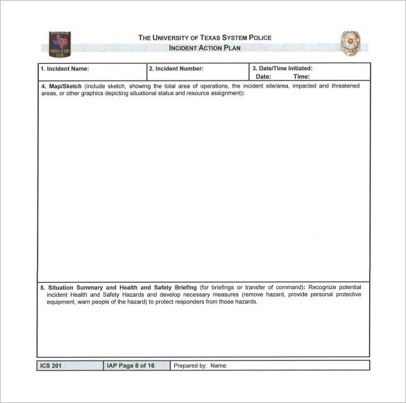 blank incident action plan sample template download