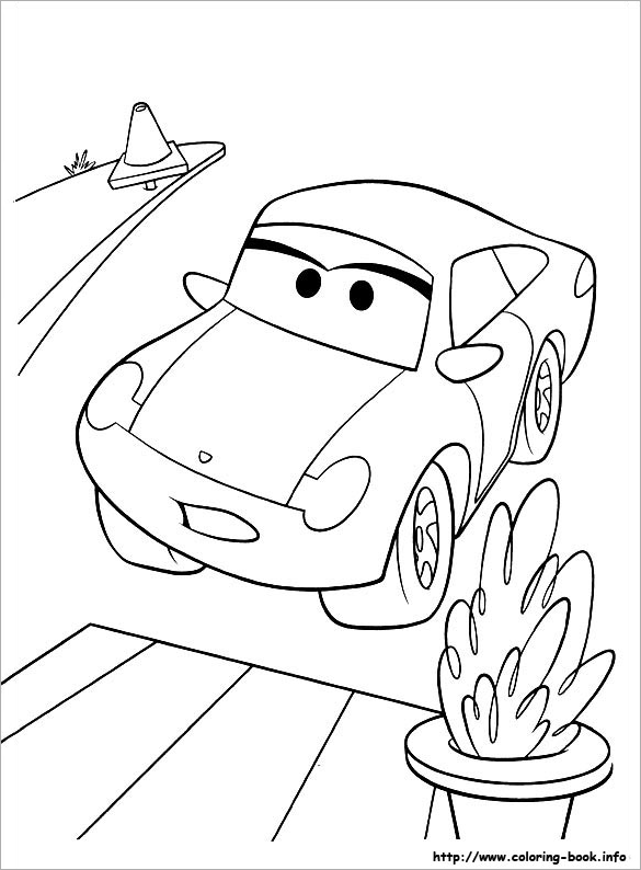 this picture is one of the simple car coloring pages for kids showing the outline of a cartoon car on street with a pavement on the side and a stand with - Simple Car Coloring Pages