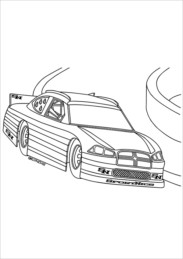 nice race car free printable coloring page
