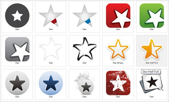 multiple star icon collection